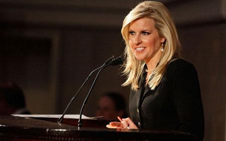 Monica Crowley delivering a speech