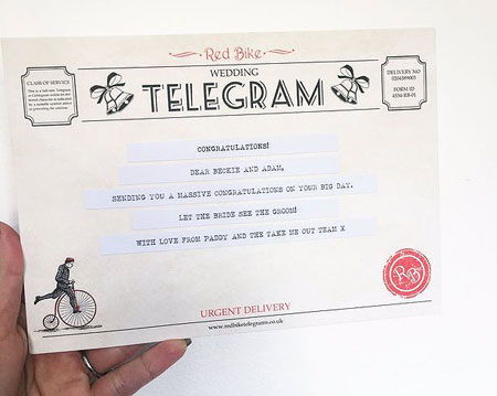 Wedding telegram received by the newly married  husband and wife couple Beckie Finch and Adam Ryan from TMO