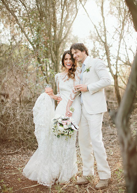 Nikki Reed with her boyfriend-turned-husband Ian Somerhandler at their wedding