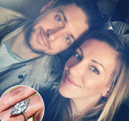 Arrow star Katie Cassidy with her boyfriend-turned-fiancee Matthew Rodger and the engagement ring
