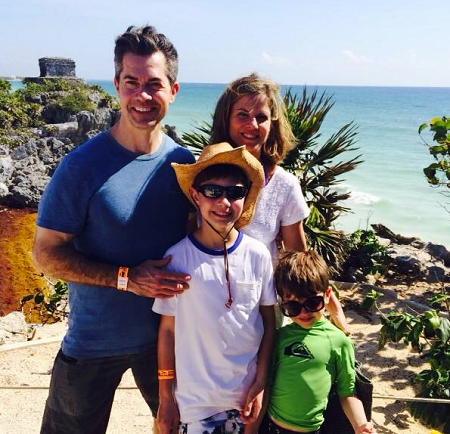 Natalie Morales and Joe Rhodes with their children