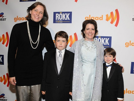 Kara Swisher and Megan Smith with their children