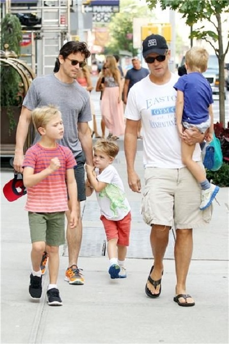 Simon Halls, Matt Bomer with their children