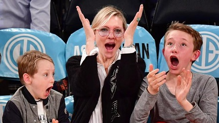 Cate with her first two sons: Dashiell and Roman