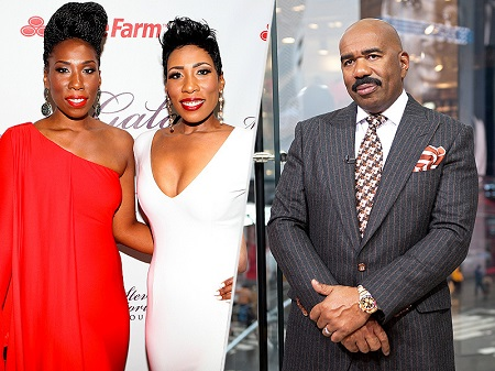 Steve Harvey and his twin daughters, Karli and Brandi