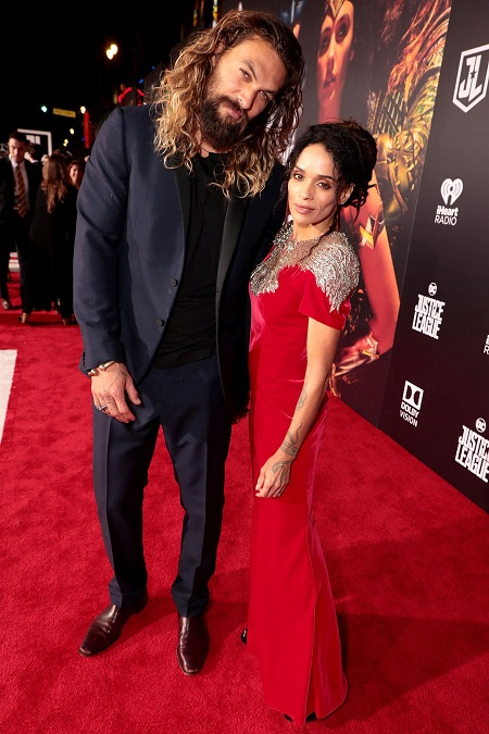 "Jason Momoa and Lisa Bonet in the ""Justice League"" premiere in Los Angeles"