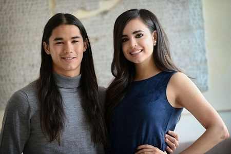 "Sofia Carson with her ""Descendants"" co-star Booboo Stewart"