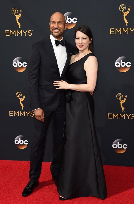 Keegan-Michael Key and Elisa Pugliese in an Emmy Awards
