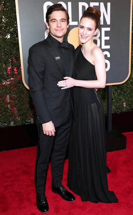 Rachel Brosnahan and her boyfriend Jason Ralph in the 2018 Golden Globe awards