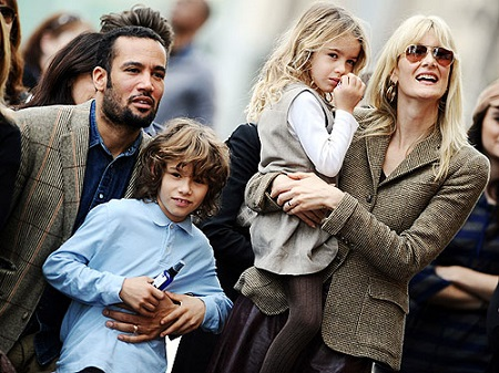 Laura Dern and Ben Harper with their son Ellery Walk Harper and daughter Jaya Harper