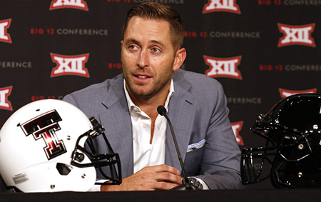 Kliff Kingsbury during the Big 12 Conference Football Media Days, 2015.
