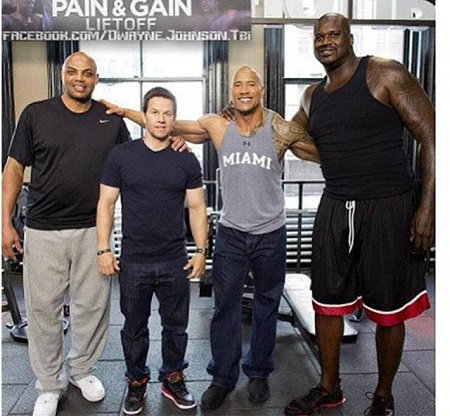 Shaq with The Rock and other