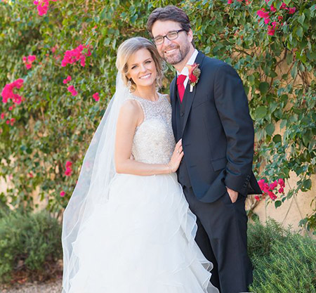 Chelsey Crips and husband Rhett Reese on their big day