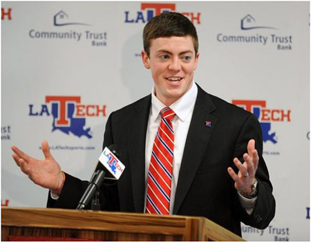 Tyler Summitt during a press conference as Tech women's basketball coach