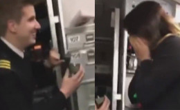Pilot Surprises His Attendant Girlfriend By Romantically Proposing Her In Front Of Passengers Before Take-Off!