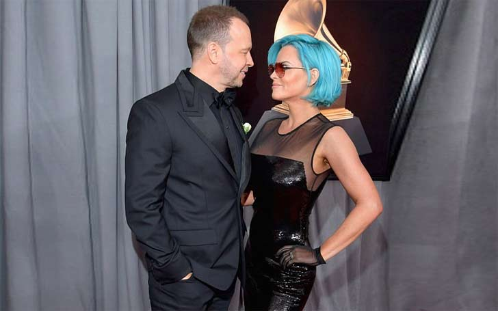 American Actress And Host Jenny McCarthy Debuts Blue Hair With Husband Donnie Wahlberg At The 2018 Grammy Awards: Pair Happily Married Since 2014.