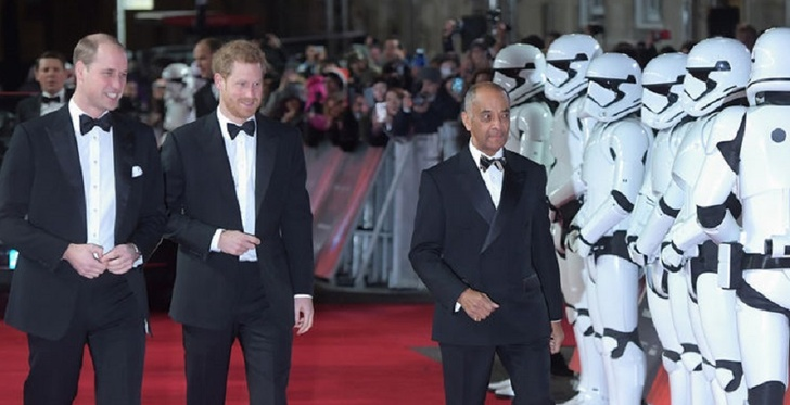 Prince Harry and Duke of Cambridge Join Stormtroopers On Red Carpet Premiere of Star Wars in London